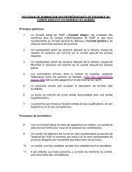 POLITIQUE DE NOMINATION DES REPRÉSENTANTS DE ...