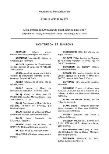 Notables du Montbrisonnais avant la Grande Guerre ... - Forez histoire
