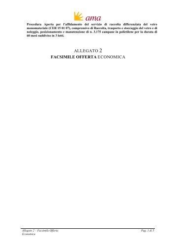 ALLEGATO 2 FACSIMILE OFFERTA ECONOMICA - Ama