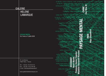 Paysage mental - GALERIE HELENE LAMARQUE