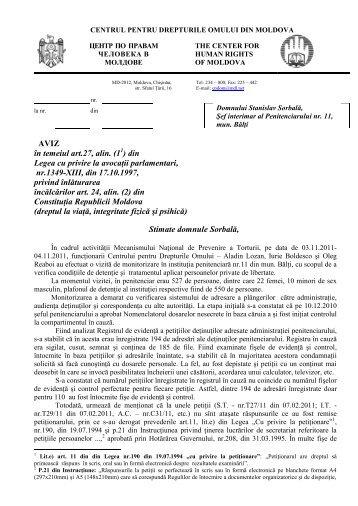 Aviz în temeiul art.27, alin. (11) - Centrul pentru Drepturile Omului ...