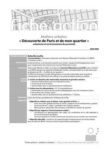 Ateliers urbains « Découverte de Paris et de mon quartier »
