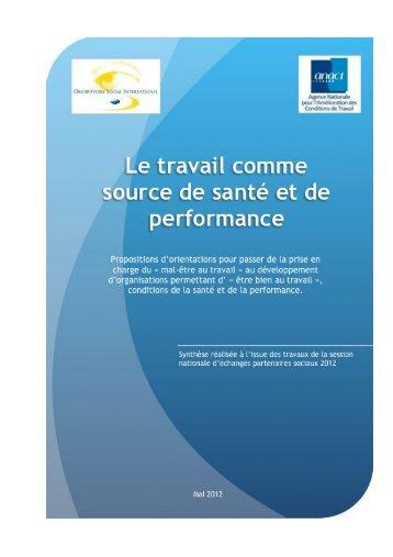 Le travail comme source de santé et de performance - ANACT, OSI