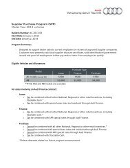 Supplier Purchase Program (SPP) - Audi Canada Corporate Sales