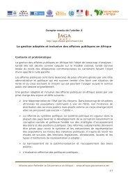 La gestion adaptée et inclusive des affaires publiques en Afrique ...