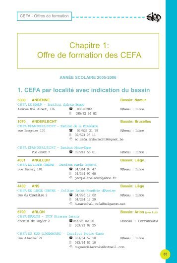 Offre de formations CEFA - Sysfal