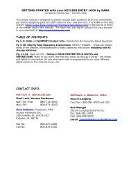 TABLE OF CONTENTS CONTACT INFO: - Access Hardware Inc