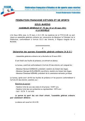 PV de l'assemblée générale 2011 à la Rochelle - ffessm