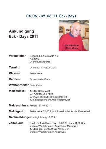 Ankündigung Eck - Days 2011 - Segelclub-Eckernförde