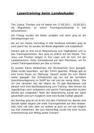 Lasertraining beim Landeskader - Segler - Club Hansa