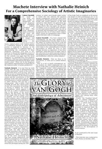 Machete Interview with Nathalie Heinich For a Comprehensive