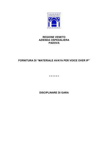disciplinare di gara - Azienda Ospedaliera di Padova