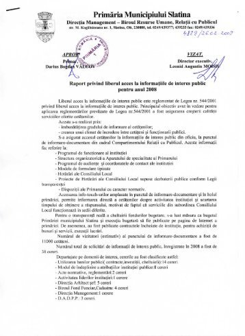 Acces informaţii de interes public 2008 - Primăria Municipiului Slatina