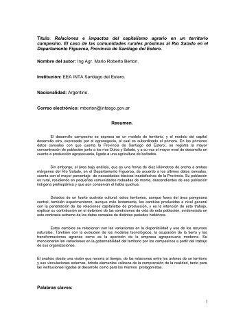 Relaciones e impactos del capitalismo agrario en un ... - aader.org.ar