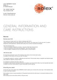 general information and care instructions - solex GERMANY GmbH