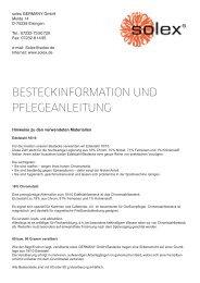 besteckinformation und pflegeanleitung - solex GERMANY GmbH