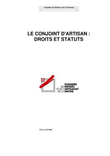 LE CONJOINT D'ARTISAN : DROITS ET STATUTS - Chambre de ...