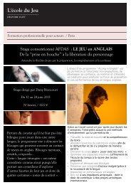 Stage conventionné AFDAS : LE JEU en ANGLAIS De ... - Ecole du jeu