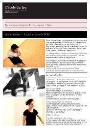 Atelier théâtre - Le Jeu à travers la TCIC - Ecole du jeu