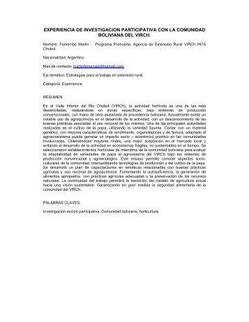 experiencia de investigacion participativa con la ... - aader.org.ar