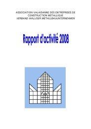 Rapport d'activité 2008 - Association Valaisanne des Entreprises de ...
