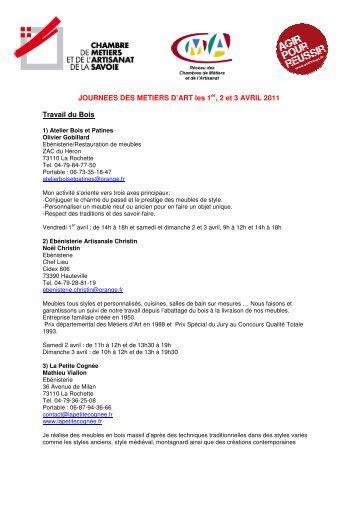 JOURNEES DES METIERS D'ART les 1er, 2 et 3 AVRIL 2011 ...