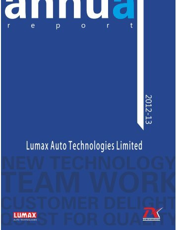 Year Ended March 31, 2013 - Lumax Auto Technologies Ltd.