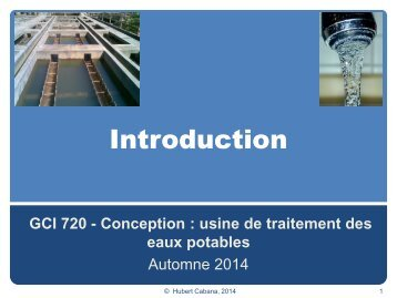 GCI 720 - Conception : usine de traitement des eaux potables
