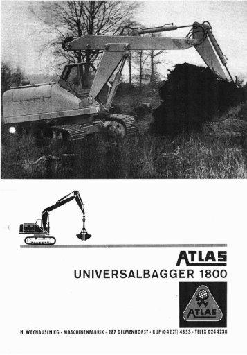 Technische Daten Prospekt AB 1800 - ATLAS Hydraulikbagger