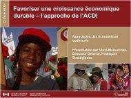 l'approche de l'ACDI - Association des économistes québécois