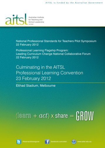 Culminating in the AITSL Professional Learning Convention 23 ...