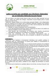 Lettre ouverte d'Accueil Paysan pour les régionales 2010 - Crid
