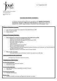 le 17 septembre 2013 VACANCE DE POSTE EXTERNE : La Ville de ...