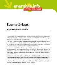 Appel à projets eco-matériaux