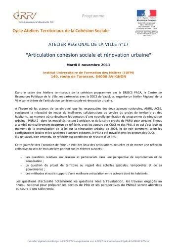 Cycle Ateliers Territoriaux de la Cohésion Sociale ... - CRPV-PACA