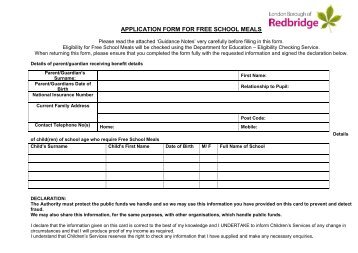 Application Form For Free School Meals (PDF Format)  Free School Application Form