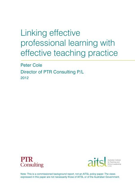 Linking effective professional learning with effective teaching practice