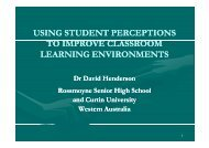 using student perceptions to improve classroom learning ...