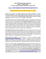 CALL FOR PRESENTATION/POSTER ABSTRACTS - PACE