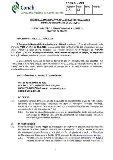 EDITAL DE LICITAÇÃO - Conab