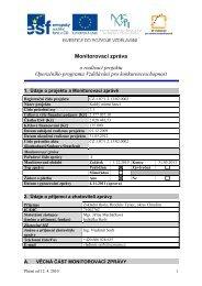 Monitorovací zpráva o realizaci projektu Operačního programu ...