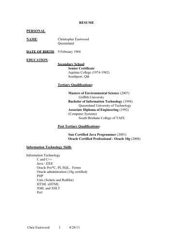 Chris Eastwood 1 4/28/11 RESUME PERSONAL NAME ...
