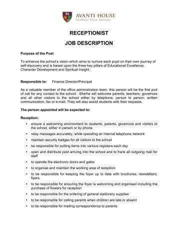 Receptionist Job Description Receptionist Job Description Avanti