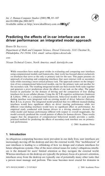 Predicting the effects of in-car interface use - Applied Cognitive ...