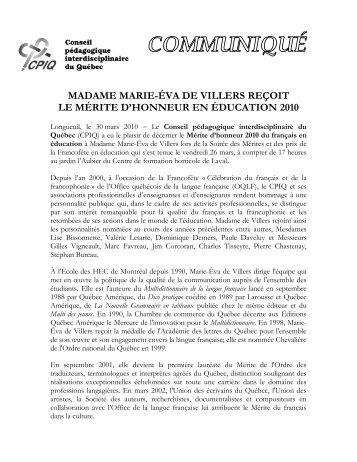 Communiqué 30 mars 2010 - Conseil pédagogique ...