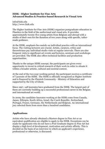 HISK - Higher Institute for Fine Arts Advanced Studies & Practice ...