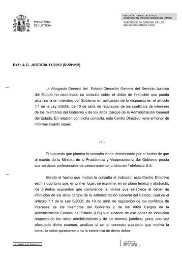 05. Abogacia del Estado. Informe sobre conflicto intereses Saenz de Santamaria.2012