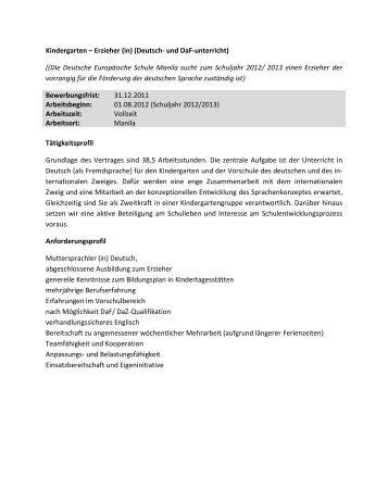Kindergarten – Erzieher (in) (Deutsch- und DaF-unterricht) ((Die ...