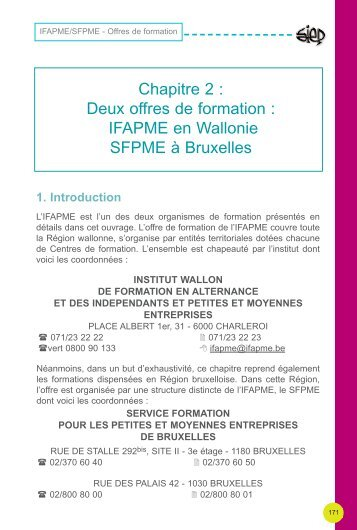 Offre de formations IFAPME - Sysfal