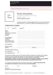 Dossier d'inscription - Ecole du jeu
